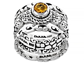 Pre-Owned Golden Citrine Sterling Silver Ring Set 0.43ct
