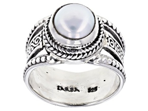 Pre-Owned White Cultured Freshwater Pearl Silver Solitaire Ring