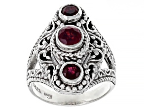 Pre-Owned Red Mahaleo(R) Ruby Sterling Silver 3- Stone Ring 0.92ctw