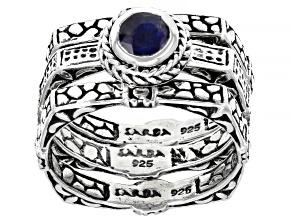 Pre-Owned Blue Kyanite Sterling Silver Ring Set 0.55ct