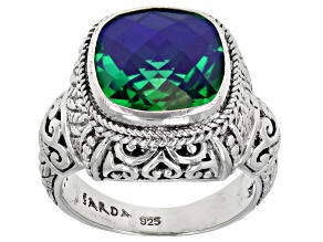 Pre-Owned Square Cushion Rainbow Quartz Sterling Silver Ring 5.74ct