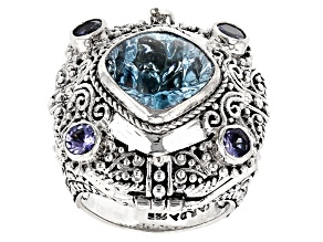 Pre-Owned Blue Topaz And Tanzanite Silver Ring 7.77ctw