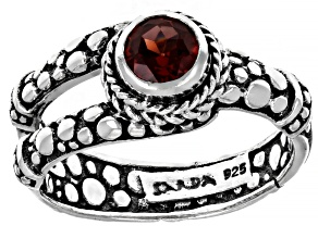 Pre-Owned Red Garnet Sterling Silver Ring 0.51ct