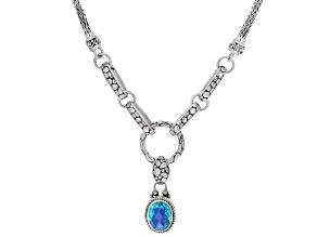 Pre-Owned Rainbow Paraiba Color Quartz Triplet Silver Necklace