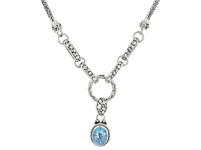 Pre-Owned Swiss Blue Topaz Silver Necklace 2.0ctw