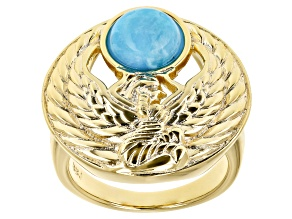 Pre-Owned Turquoise 18k Yellow Gold Over Brass Egyptian Ma'at Design Ring