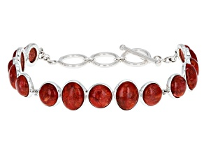 Pre-Owned Red Coral Cabochon Rhodium Over Silver Bracelet
