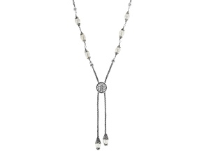 Pre-Owned White Cultured Freshwater Pearl Silver Adjustable Necklace