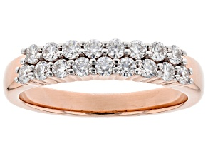 Pre-Owned Moissanite 14k Rose Gold Over Silver Ring .51ctw DEW