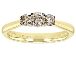 Pre-Owned Champagne Diamond 10k Yellow Gold 3-Stone Engagement Ring 0.50ctw