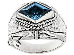 Pre-Owned Swiss Blue Topaz Silver Solitaire Ring 2.95ct
