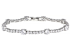 Pre-Owned White Cubic Zirconia Rhodium Over Sterling Silver Bracelet 15.06ctw