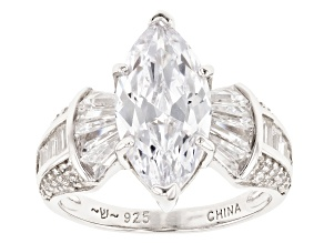 Pre-Owned White Cubic Zirconia Rhodium Over Sterling Silver Ring 5.32ctw