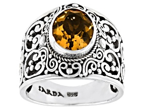 Pre-Owned Yellow Citrine Sterling Silver Solitaire Ring 2.02ct