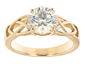 Pre-Owned Fabulite strontium titanate 18k yellow gold over sterling silver solitaire ring 2.50ct