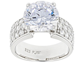 Pre-Owned White Cubic Zirconia Rhodium Over Sterling Silver Ring 8.98ctw