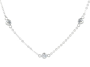Pre-Owned White Cubic Zirconia Rhodium Over Sterling Silver Necklace 7.29ctw