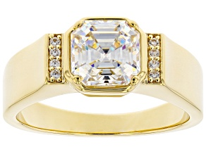 Pre-Owned Fabulite Strontium Titanate And White Zircon 18k Yellow Gold Over Silver Mens Ring 3.40ctw