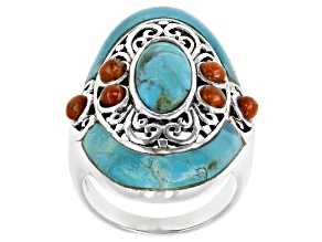 Pre-Owned Turquoise and Coral Rhodium Over Sterling Silver Ring