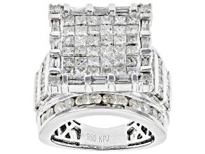 Pre-Owned White Diamond Platinum Quad Ring 5.00ctw