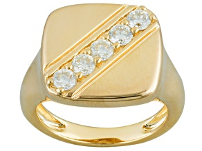 Pre-Owned Moissanite 14k Yellow Gold Over Silver Unisex Ring .65ctw DEW