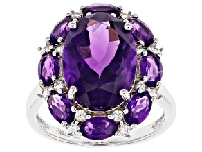 Pre-Owned Purple Amethyst Rhodium Over Sterling Silver Ring 6.27ctw