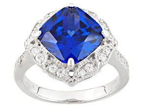 Pre-Owned Blue And White Cubic Zirconia Rhodium Over Sterling Silver Ring 6.73ctw