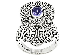 Pre-Owned Blue Tanzanite Sterling Silver Solitaire Ring .62ct