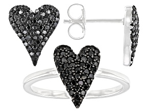 Pre-Owned Black Spinel Rhodium Over Sterling Silver Ring And Earrings Set 0.95ctw