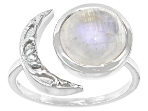 Pre-Owned White Moonstone Rhodium Over Sterling Silver Solitaire Ring