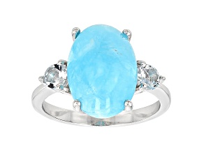 Pre-Owned Blue Peruvian Hemimorphite Sterling Silver Ring .39ctw