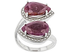Pre-Owned Red Indian Ruby Rhodium Over Sterling Silver Bypass Ring. 5.00ctw