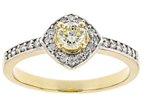 Pre-Owned Natural Yellow And White Diamond 14K Yellow Gold Center Design Ring 0.41ctw