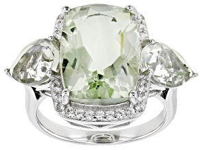 Pre-Owned Green Prasiolite Rhodium Over Sterling Silver Ring 7.90ctw