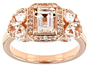 Pre-Owned Peach Morganite 18k Rose Gold Over Silver Ring 1.42ctw