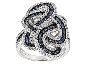 Pre-Owned Blue And White Cubic Zirconia Rhodium Over Silver Ring 2.45ctw