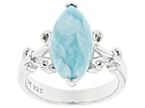 Pre-Owned Blue Larimar Rhodium Over Sterling Silver Solitaire Ring