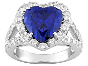 Pre-Owned Blue And White Cubic Zirconia Rhodium Over Sterling Silver Ring 7.36ctw