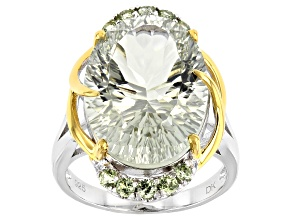 Pre-Owned Green Prasiolite Rhodium & 18k Gold Over Silver Two-Tone Ring 10.99ctw