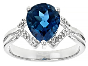 Pre-Owned Blue Topaz Rhodium Over Sterling Silver Ring 2.52ctw
