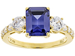 Pre-Owned Blue And White Cubic Zirconia 18K Yellow Gold Over Sterling Silver Ring 5.24ctw