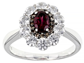 Pre-Owned Purple Rhodolite Rhodium Over Sterling Silver Ring 2.09ctw