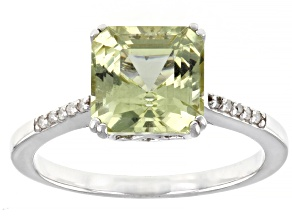 Pre-Owned Yellow Apatite Rhodium Over Sterling Silver Ring 2.50ctw