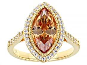 Pre-Owned Champagne And White Cubic Zirconia 18K Yellow Gold Over Sterling Silver Ring 5.10ctw
