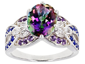 Pre-Owned Green Mystic Fire(R) Topaz Rhodium Over Silver Ring 3.56ctw