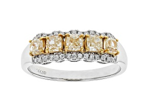 Pre-Owned Yellow And White Diamond 14k White Gold Ring 1.65ctw