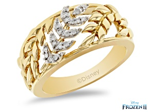Pre-Owned Enchanted Disney Anna Band Ring White Diamond 14k Yellow Gold Over Silver 0.10ctw