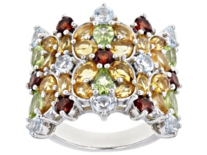 Pre-Owned Multi-Gem Rhodium Over Sterling Silver Band Ring. 4.73ctw
