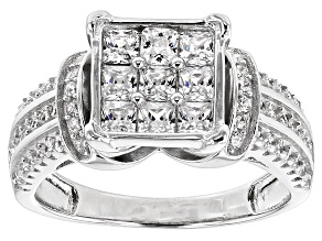 Pre-Owned White Cubic Zirconia Rhodium Over Silver Ring 2.10ctw