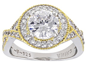 Pre-Owned White Cubic Zirconia Rhodium And 14k Yellow Gold Over Sterling Silver Ring 4.03ctw